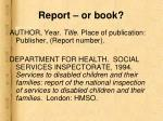 report or book