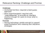 relevance ranking challenge and promise