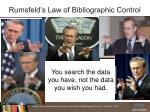 rumsfeld s law of bibliographic control
