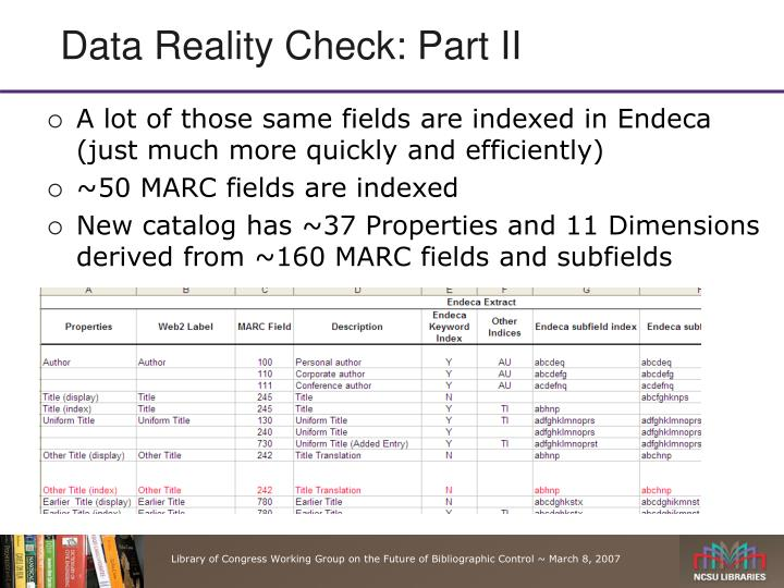 Data Reality Check: Part II