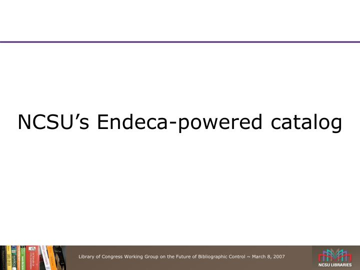 NCSU's Endeca-powered catalog