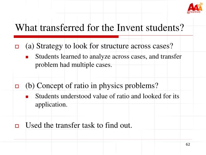 What transferred for the Invent students?