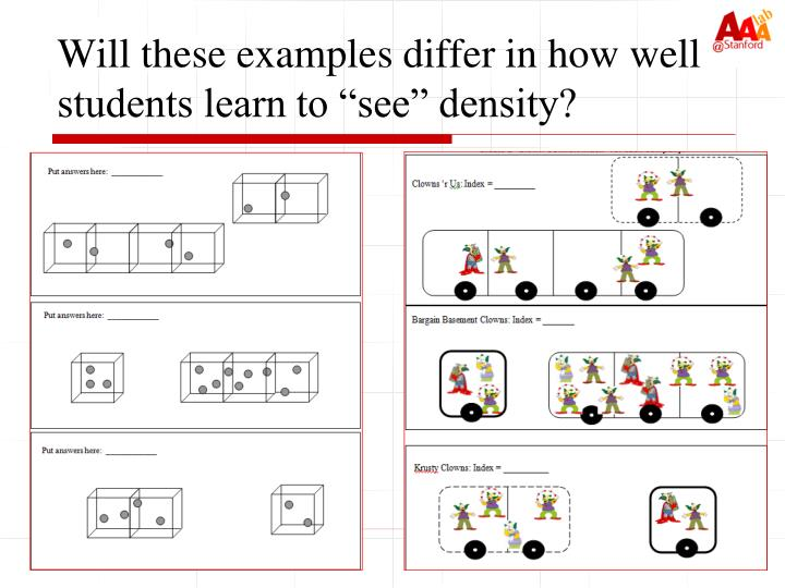 """Will these examples differ in how well students learn to """"see"""" density?"""