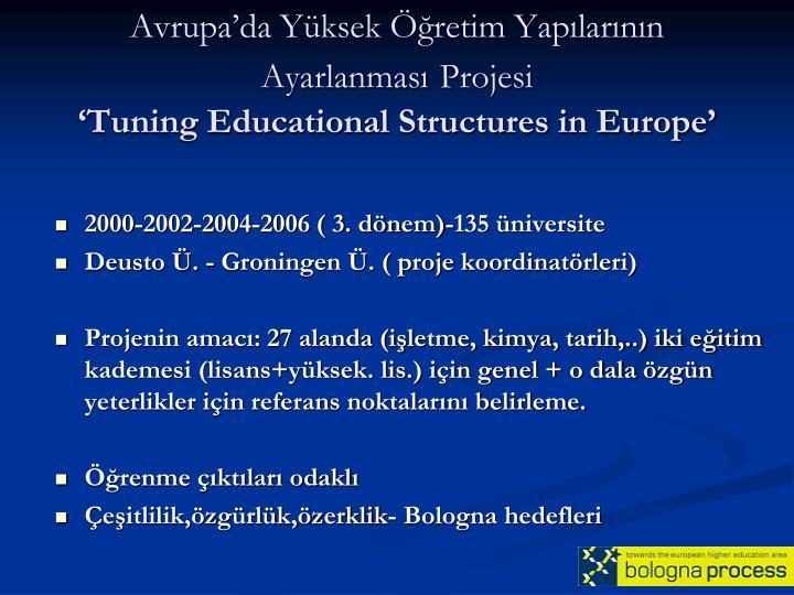 Avrupa'da Yüksek Öğretim Yapılarının Ayarlanması