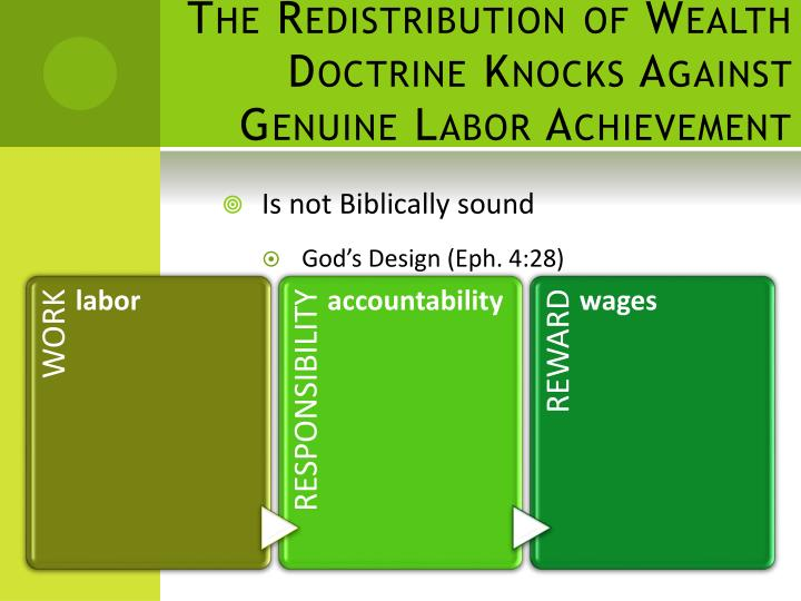 The Redistribution of Wealth Doctrine Knocks Against Genuine Labor Achievement