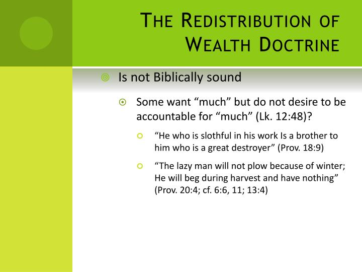 The Redistribution of Wealth Doctrine