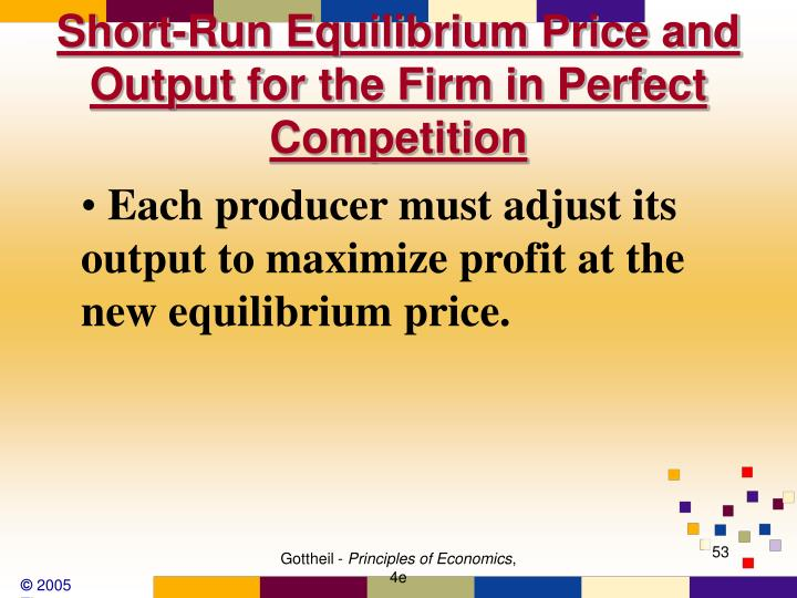 Short-Run Equilibrium Price and Output for the Firm in Perfect Competition