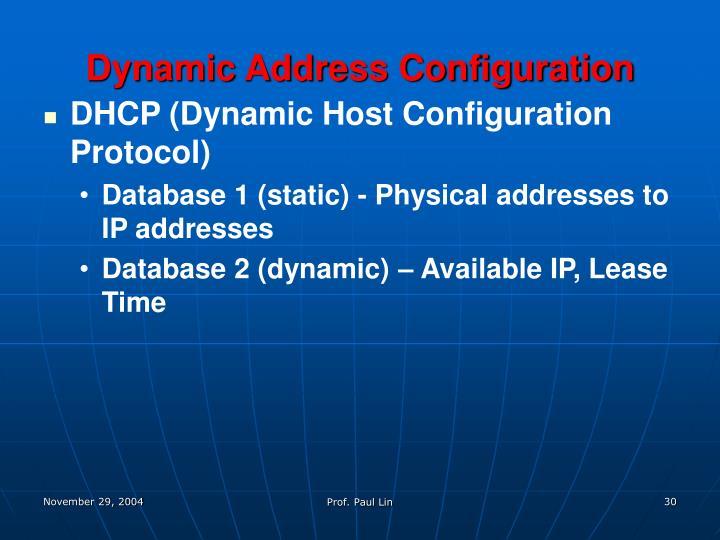 Dynamic Address Configuration
