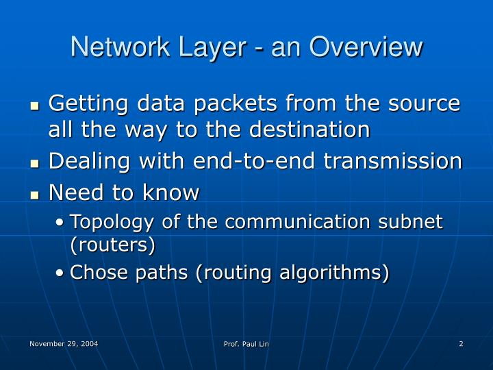 Network Layer - an Overview