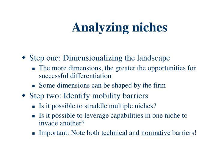 Analyzing niches