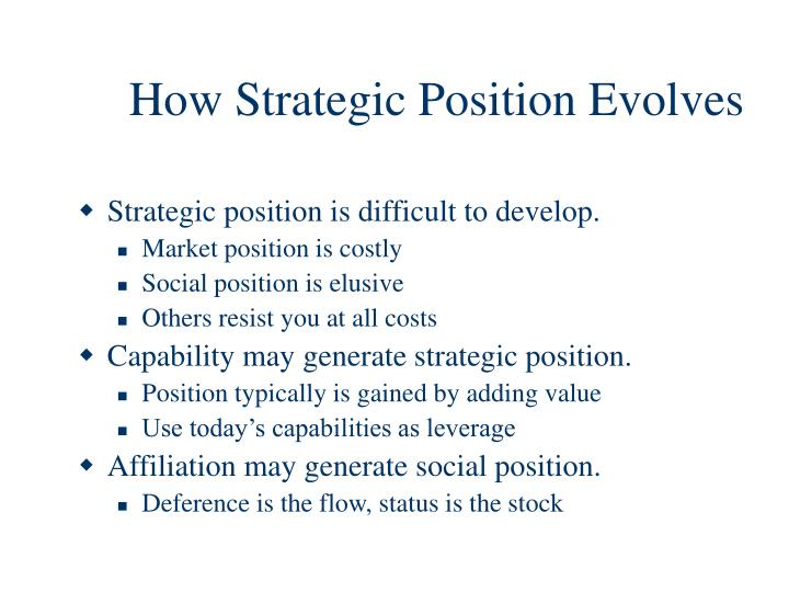 How Strategic Position Evolves