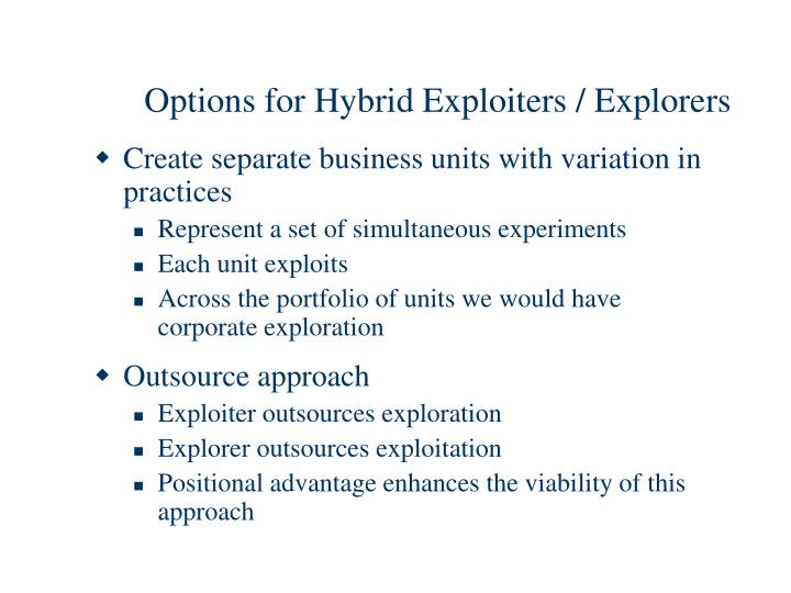 Options for Hybrid Exploiters / Explorers