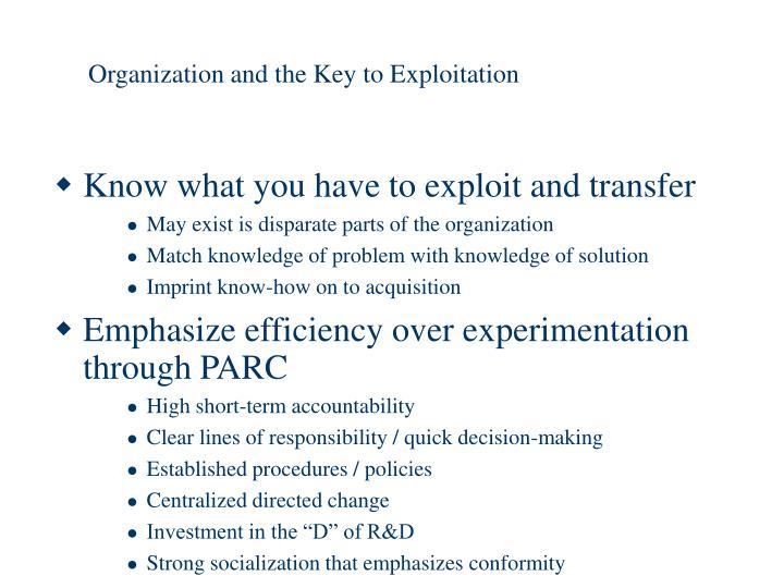 Organization and the Key to Exploitation