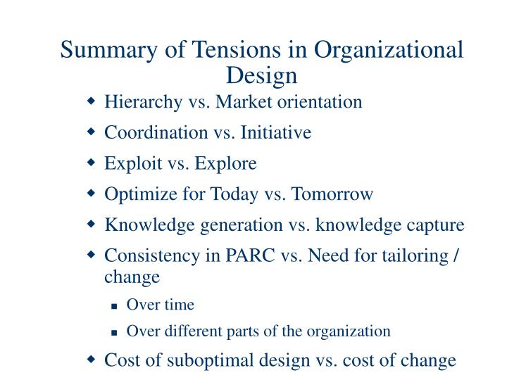 Summary of Tensions in Organizational Design