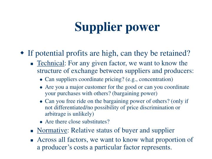 Supplier power