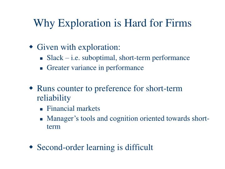 Why Exploration is Hard for Firms