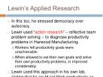 lewin s applied research