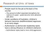 research at univ of iowa