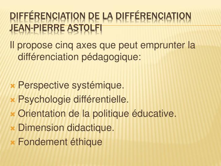 Il propose cinq axes que peut emprunter la différenciation pédagogique: