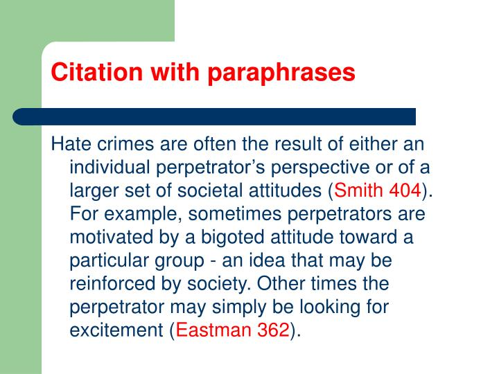 Citation with paraphrases