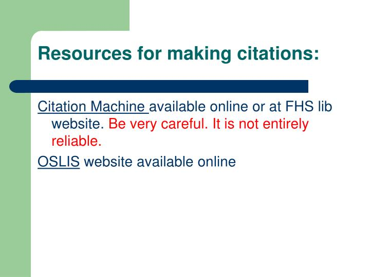 Resources for making citations: