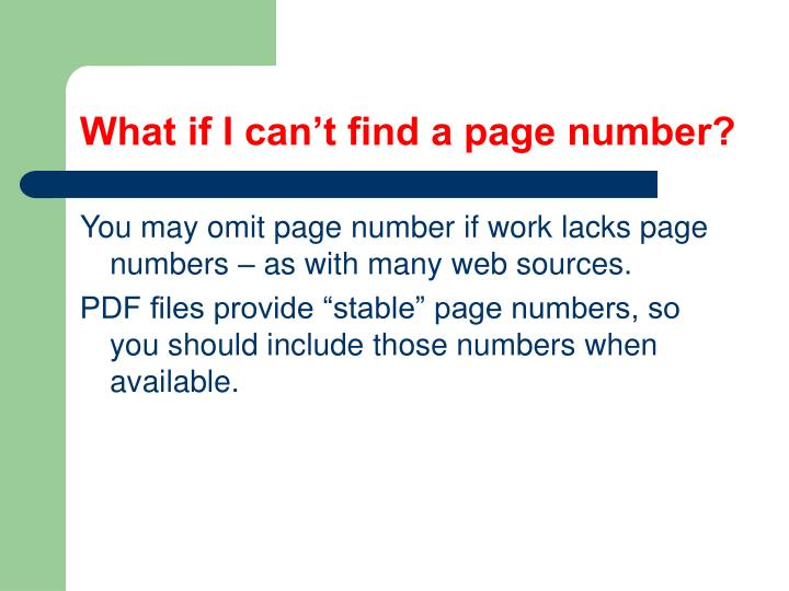 What if I can't find a page number?