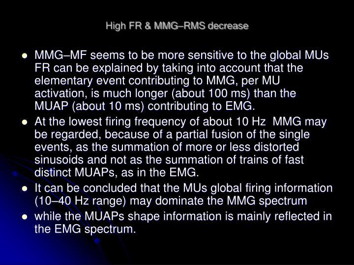 High FR & MMG–RMS decrease
