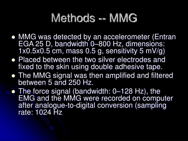 Methods -- MMG
