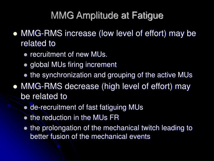MMG Amplitude at Fatigue