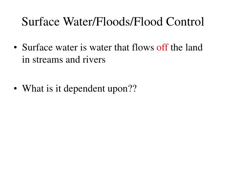 Surface Water/Floods/Flood Control