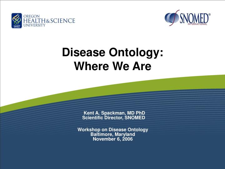 Disease ontology where we are