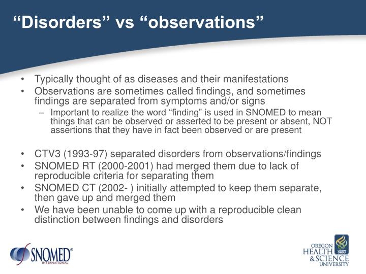 """Disorders"" vs ""observations"""