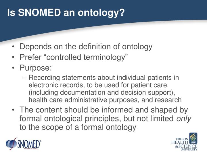 Is SNOMED an ontology?