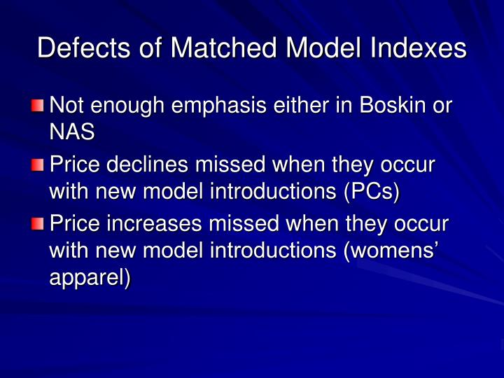 Defects of Matched Model Indexes