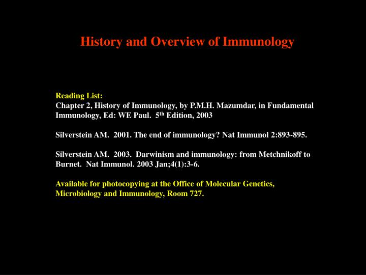 History and Overview of Immunology