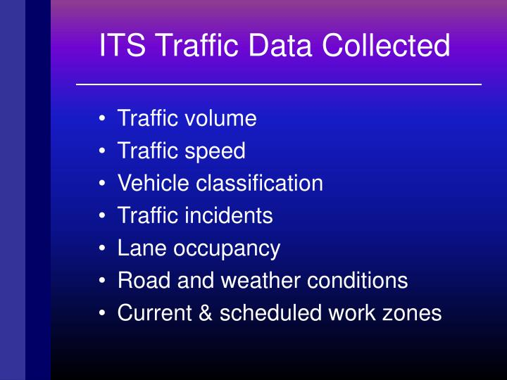 ITS Traffic Data Collected