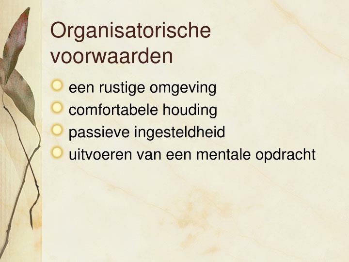 Organisatorische voorwaarden