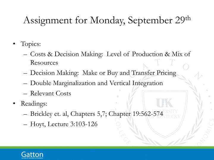 Assignment for Monday, September 29