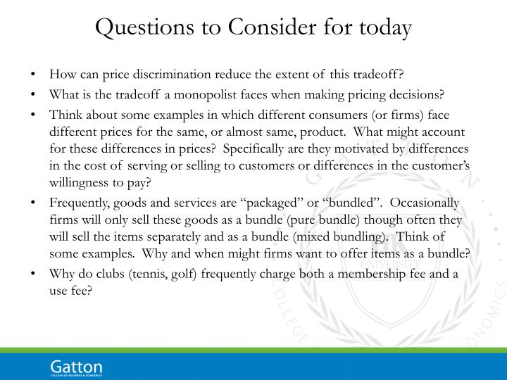 Questions to Consider for today