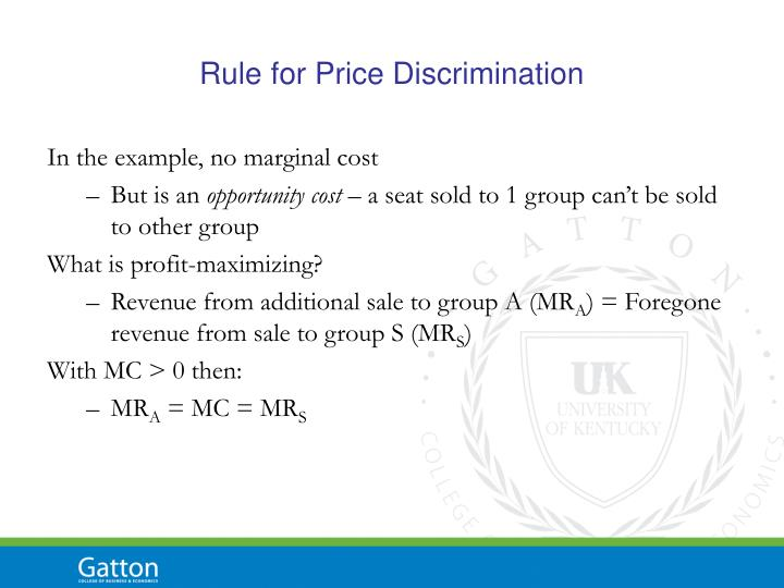 Rule for Price Discrimination