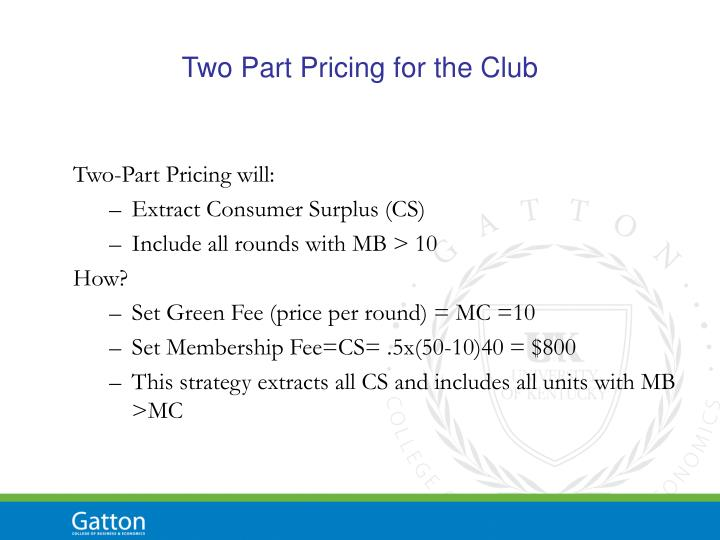 Two Part Pricing for the Club