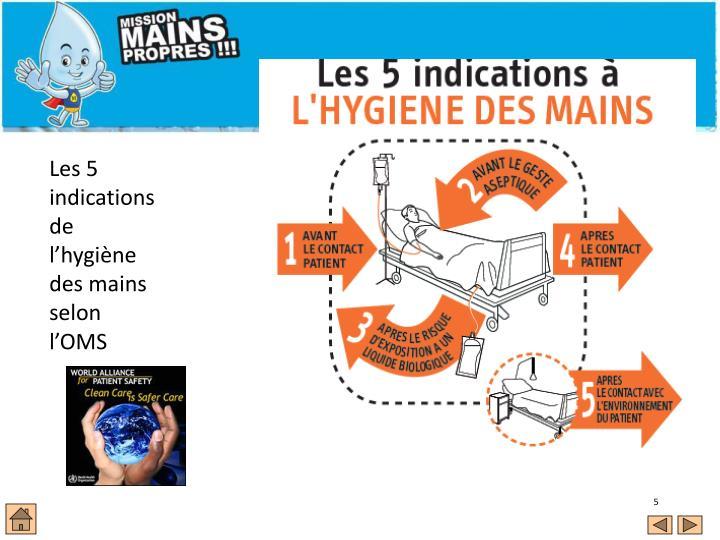 Les 5 indications de l'hygiène des mains selon l'OMS