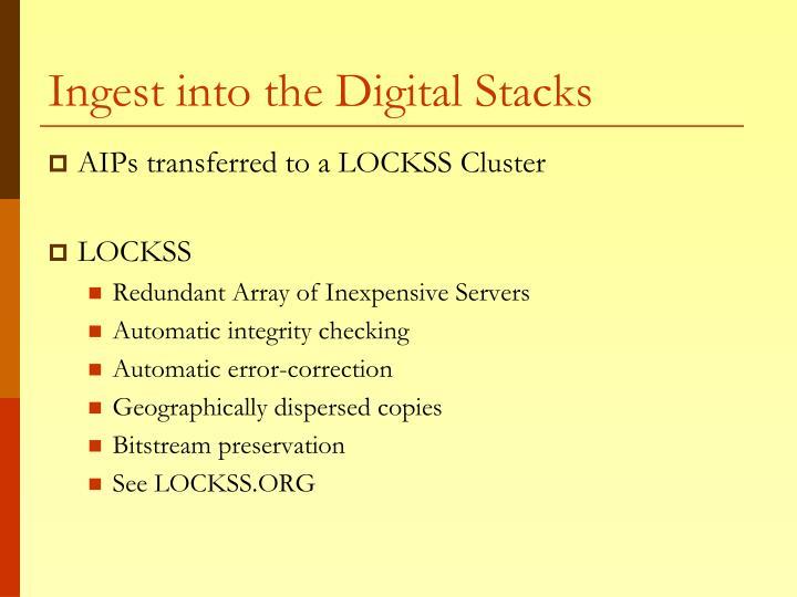 Ingest into the Digital Stacks