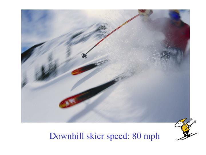 Downhill skier speed: 80 mph
