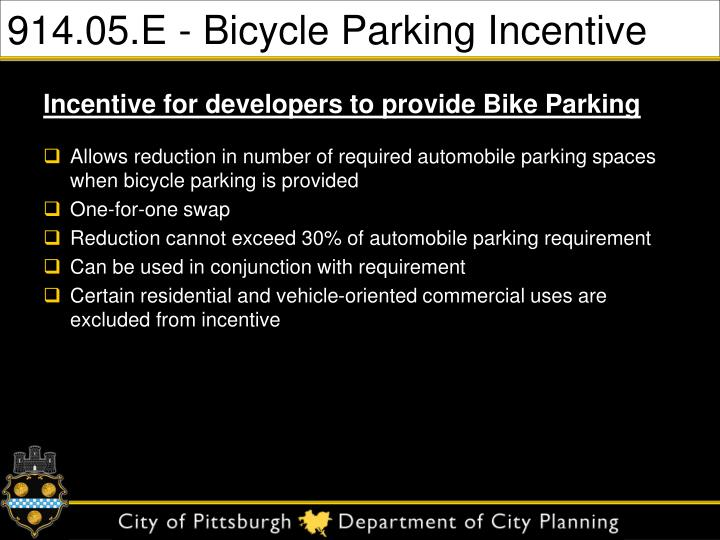 914.05.E - Bicycle Parking Incentive