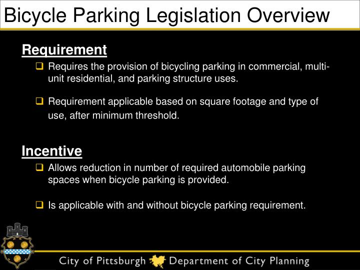 Bicycle parking legislation overview