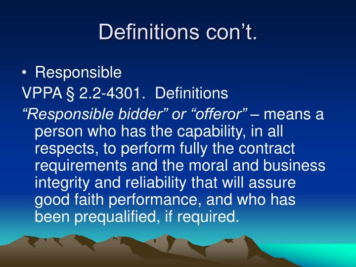 Definitions con't.