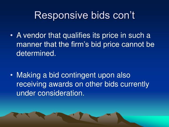 Responsive bids con't