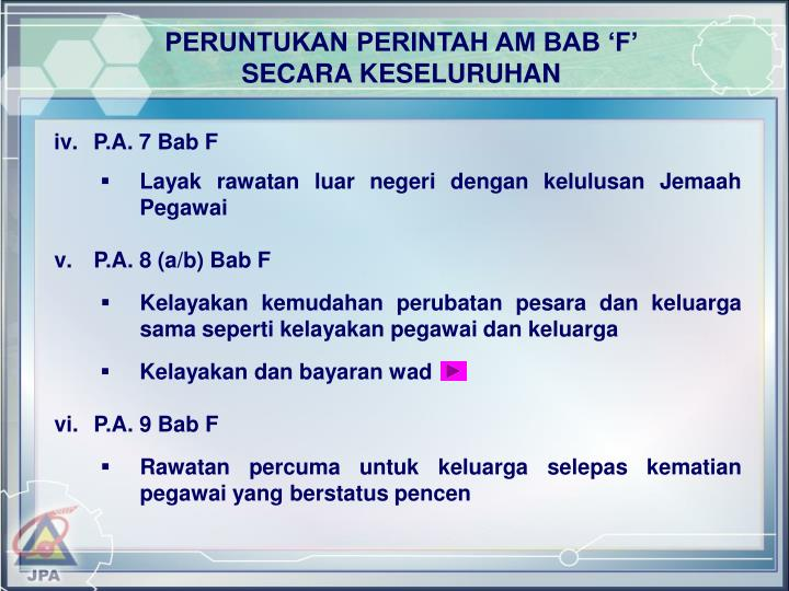 PERUNTUKAN PERINTAH AM BAB 'F'