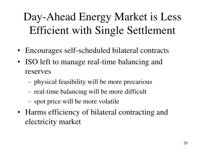 Day-Ahead Energy Market is Less Efficient with Single Settlement